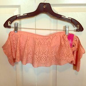 Peach Off-the-Shoulder Tube Bandeau Bikini Top